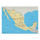 Mexico Political Map Poster