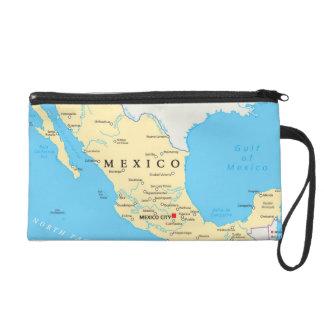 Mexico Political Map Wristlet Clutches