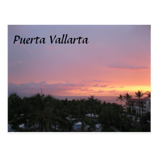 Mexico Puerta Vallarta sunset vacation Postcard