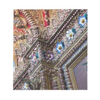 Mexico, Queretaro. Detail inside ornate Catholic Notepad