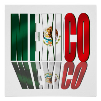 Mexico Reflection logo flag for Mexicans Poster