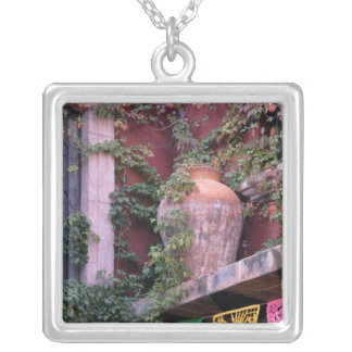 Mexico, San Miguel de Allende, Ivy, clay pot, Silver Plated Necklace