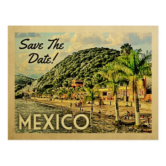 Mexico Save The Date Vintage Postcards