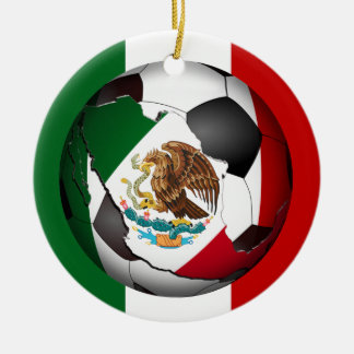 Mexico Soccer Ball w/Flag Colors Background Ornament