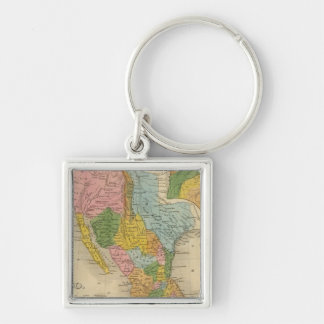 Mexico, Texas Silver-Colored Square Key Ring