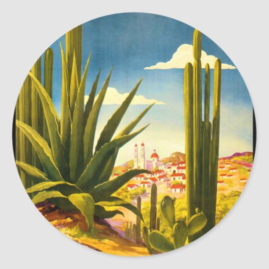 Mexico Travel Poster Classic Round Sticker