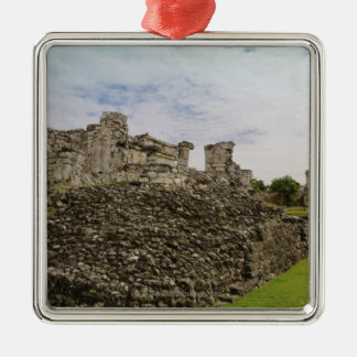 Mexico, Tulum, ancient ruins 2 Silver-Colored Square Decoration