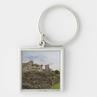 Mexico, Tulum, ancient ruins 2 Silver-Colored Square Key Ring