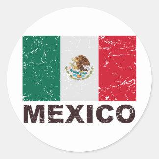 Mexico Vintage Flag Classic Round Sticker