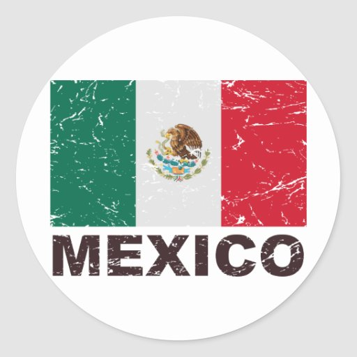 Mexico Vintage Flag Round Sticker