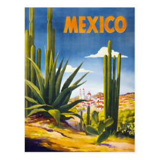 Mexico Vintage Poster Restored Postcard