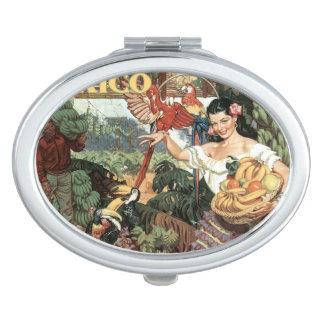 Mexico vintage travel pocket mirror