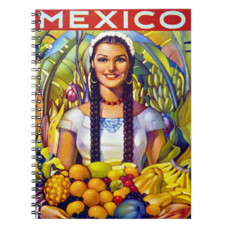 Mexico Vintage Travel Poster Restored Notebooks