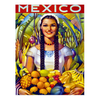 Mexico Vintage Travel Poster Restored Postcard