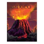 Mexico Volcano Travel Poster Postcard