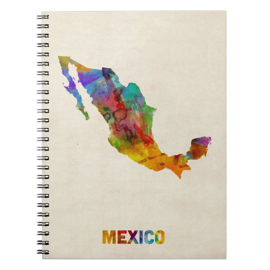 Mexico Watercolor Map Spiral Notebook