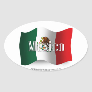 Mexico Waving Flag Oval Sticker