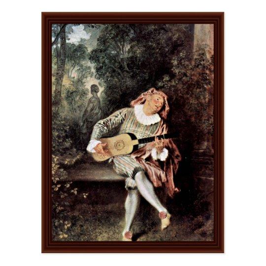 Mezzetin By Antoine Watteau Postcard