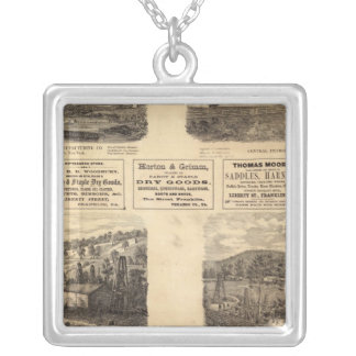 Mfg co, oil fields square pendant necklace