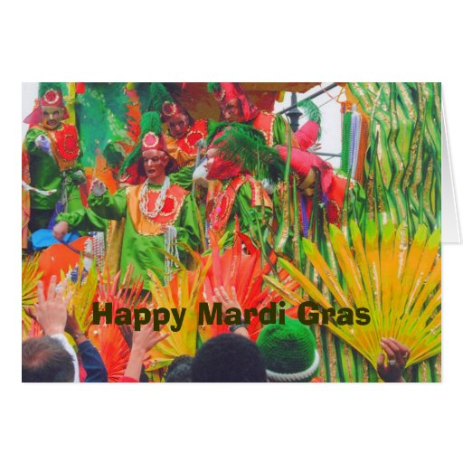 MG Colorful float and riders, Happy Mardi Gras Greeting Cards