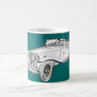 MG Convertible Antique Car Illustration Coffee Mug