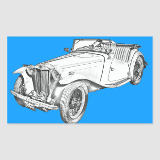 MG Convertible Antique Car Illustration Rectangle Stickers