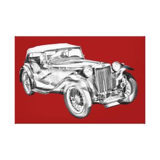 Mg Tc Antique sports Car Illustration Stretched Canvas Prints