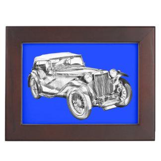 Mg Tc Antique sports Car Illustration Keepsake Boxes