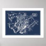 "MG ""TF"" Engine Schematic Poster - BluePrint"