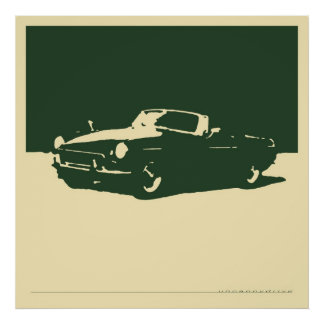 MGB, 1971 - British Racing Green on cream Print
