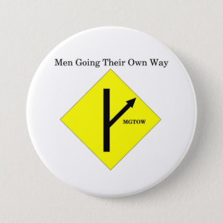 MGTOW Logo Button-Large Size-White Background 7.5 Cm Round Badge