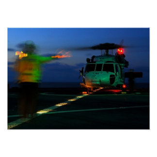 MH-60 Seahawk Helicopter Landing at Sea Poster