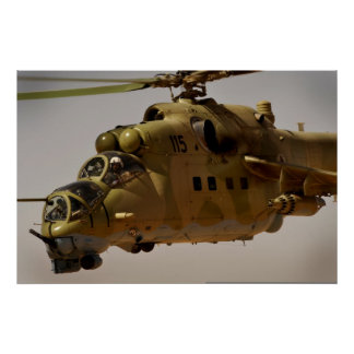 Mi-35 Hind helicopter gatling gun Poster