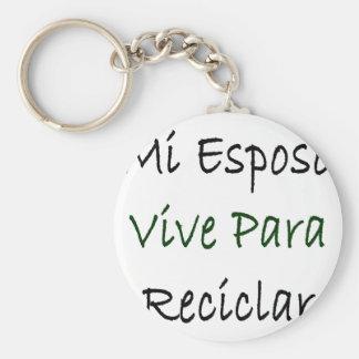 Mi Esposo Vive Para Reciclar Basic Round Button Key Ring