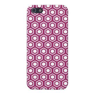 MI iPhone 4 Case Fuchsia Hexagons