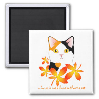 Mi-Ke Japanese Bobtail Cat Maple Leaves Cute Art Square Magnet