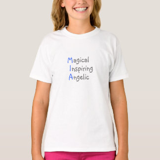 Mia - Personalized Blue Acrostic with Virtues T-Shirt