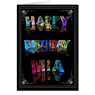 Mia - The Name Mia in 3D Lights (Photograph) Greeting Card