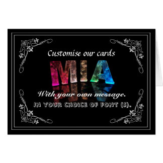 Mia  - The Name Mia in 3D Lights (Photograph) Card