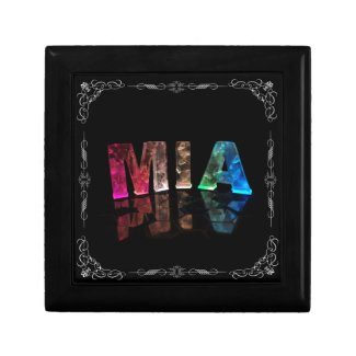 Mia - The Name Mia in 3D Lights (Photograph) Trinket Box