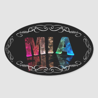 Mia  - The Name Mia in 3D Lights (Photograph) Oval Sticker