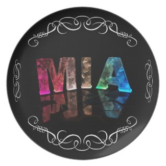 Mia - The Name Mia in 3D Lights (Photograph) Plates