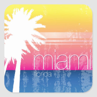 Miami at Sunset Square Sticker