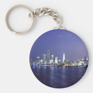 Miami at Twilight Basic Round Button Key Ring