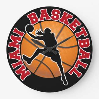 Miami Basketball Large Clock