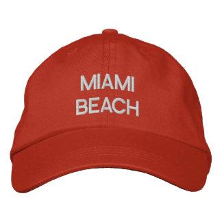 MIAMI BEACH EMBROIDERED BASEBALL CAPS