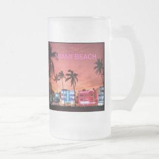 Miami Beach, Florida 16 Oz Frosted Glass Beer Mug