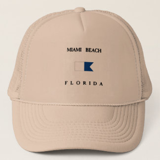 Miami Beach Florida Alpha Dive Flag Trucker Hat