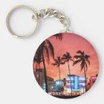 Miami Beach, Florida Basic Round Button Key Ring