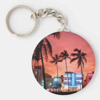 Miami Beach, Florida Basic Round Button Key Ring